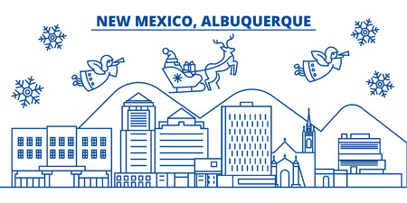 USA, New Mexico , Albuquerque  winter city skyline. Merry Christmas and Happy New Year decorated banner. Winter greeting card with snow and Santa Claus. Flat, line vector, linear christmas illustration Illustration