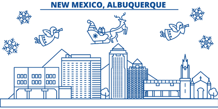 USA, New Mexico , Albuquerque   winter city skyline. Merry Christmas and Happy New Year decorated banner. Winter greeting card with snow and Santa Claus. Flat, line vector, linear christmas illustration