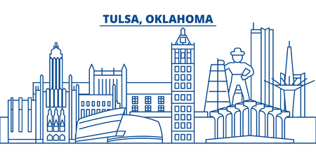 USA, Oklahoma, Tulsa  winter city skyline. Merry Christmas and Happy New Year decorated banner. Winter greeting card with snow and Santa Claus. Flat, line vector, linear christmas illustration Illustration