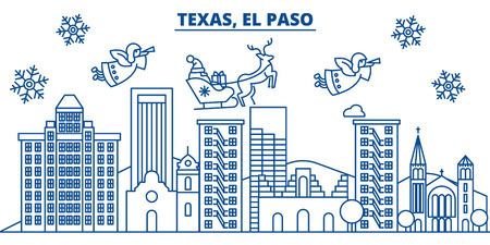 USA, Texas, El Paso  winter city skyline. Merry Christmas and Happy New Year decorated banner. Winter greeting card with snow and Santa Claus. Flat, line vector, linear christmas illustration