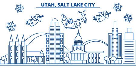 アメリカ合衆国,ユタ州,ソルトレイクシティの冬の街のスカイライン。メリークリスマスとハッピーニューイヤーは、バナーを飾りました。雪とサン