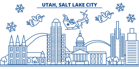 USA, Utah , Salt Lake City  winter city skyline. Merry Christmas and Happy New Year decorated banner. Winter greeting card with snow and Santa Claus. Flat, line vector, linear christmas illustration