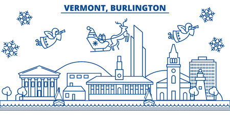 USA, Vermont , Burlington  winter city skyline. Merry Christmas and Happy New Year decorated banner. Winter greeting card with snow and Santa Claus. Flat, line vector, linear christmas illustration