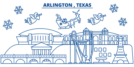 USA, Texas, Arlington  winter city skyline. Merry Christmas and Happy New Year decorated banner. Winter greeting card with snow and Santa Claus. Flat, line vector, linear christmas illustration