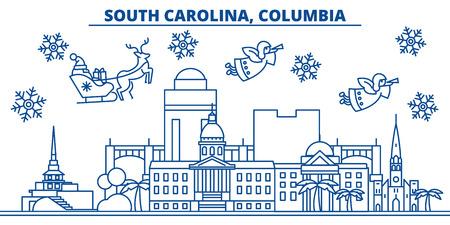 미국, 사우스 캐롤라이나, 컬럼비아 겨울 도시의 스카이 라인. 메리 크리스마스와 행복 한 새 해 장식 배너. 겨울 인사말 카드 눈과 산타 클로스. 플랫,