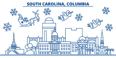 USA, South Carolina , Columbia  winter city skyline. Merry Christmas and Happy New Year decorated banner. Winter greeting card with snow and Santa Claus. Flat, line vector, linear christmas illustration