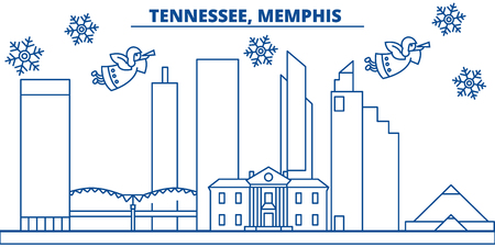 USA, Tennessee , Memphis  winter city skyline. Merry Christmas and Happy New Year decorated banner. Winter greeting card with snow and Santa Claus. Flat, line vector, linear christmas illustration Stock Photo