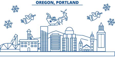 米国、オレゴン州、ポートランド冬の都市のスカイライン。メリークリスマスとハッピーニューイヤーは、バナーを飾りました。 写真素材 - 91812145