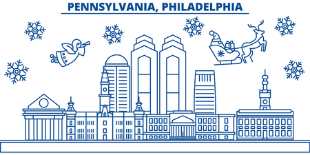 USA, Pennsylvania , Philadelphia  winter city skyline. Merry Christmas and Happy New Year decorated banner. Winter greeting card with snow and Santa Claus. Flat, line vector, linear christmas illustration