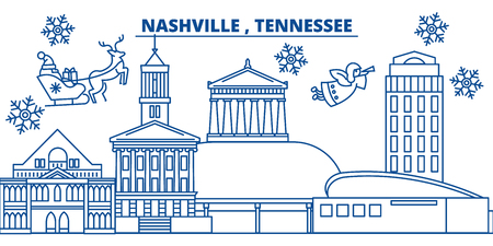 USA, Tennessee, Nashville  winter city skyline. Merry Christmas and Happy New Year decorated banner. Winter greeting card with snow and Santa Claus. Flat, line vector, linear christmas illustration