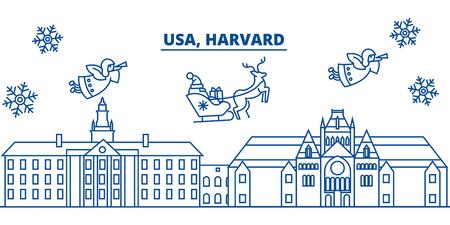 USA, Massachusetts, Harvard winter city skyline. Иллюстрация