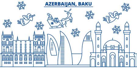Azerbaijan, Baku winter city skyline with Santa Claus in flat line illustration. Illustration