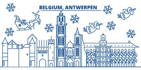 Belgium, Antwerpen winter city skyline. Winter greeting line card. Flat, outline vector. Linear Christmas snow illustration.