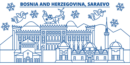 Bosnië en Herzegovina, Saraevo skyline van de winter stad. Vrolijke Kerstmis, Gelukkig Nieuwjaar verfraaide banner met Santa Claus. De lijnkaart van de de wintergroet Vlakke, overzichtsvector. Lineaire kerst sneeuw illustratie