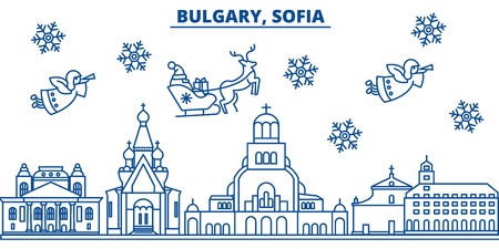 Bulgaria, Sofia winter city skyline. Merry Christmas, Happy New Year decorated banner with Santa Claus.Winter greeting line card.Flat, outline vector. Linear christmas snow illustration