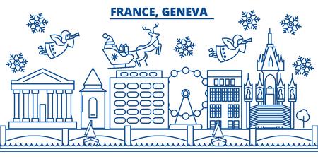 France, genève, hiver, ville, horizon Joyeux Noël, bonne année décoré bannière avec Santa Claus. Carte de ligne de voeux hiver. Plat, vecteur de contour. Illustration de neige de Noël linéaire Banque d'images - 91355418