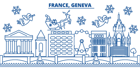 France, Geneva winter city skyline. Merry Christmas, Happy New Year decorated banner with Santa Claus.Winter greeting line card.Flat, outline vector. Linear christmas snow illustration Illustration