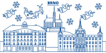 Czech Republic, Brno winter city skyline. Merry Christmas, Happy New Year decorated banner with Santa Claus.Winter greeting line card.Flat, outline vector. Linear christmas snow illustration