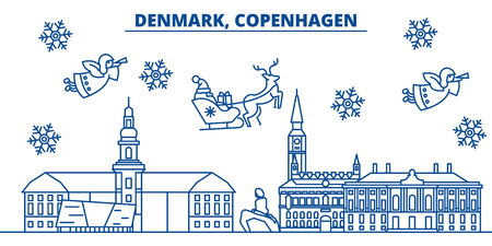 De horizon van de de winterstad van Denemarken, Kopenhagen. Vrolijke Kerstmis, Gelukkig Nieuwjaar verfraaide banner met Santa Claus. De lijnkaart van de de wintergroet Vlakke, overzichtsvector. Lineaire kerst sneeuw illustratie