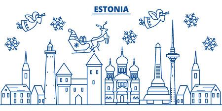 에스토니아 겨울 도시의 스카이 라인. 메리 크리스마스, 해피 뉴가 어 산타 클로스와 배너를 장식. 인사말 라인 card.Flat, 개요 벡터. 선형 크리스마스 눈