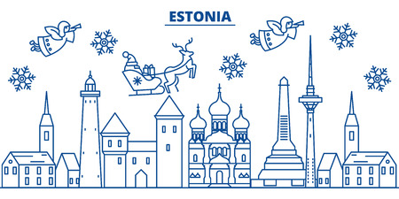 Estonia winter city skyline. Merry Christmas, Happy New Year decorated banner with Santa Claus.Winter greeting line card.Flat, outline vector. Linear christmas snow illustration