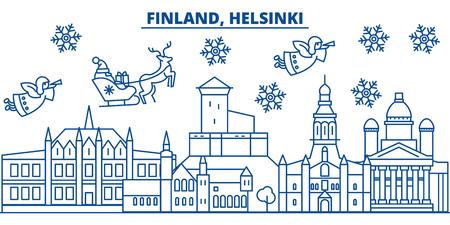 フィンランド、ヘルシンキの冬の街のスカイライン。メリークリスマス、ハッピーニューイヤーはサンタクロース.冬のグリーティングラインカードでバナーを飾りました。フラット、アウトラインベクトル。線形クリスマス雪のイラスト 写真素材 - 91355424
