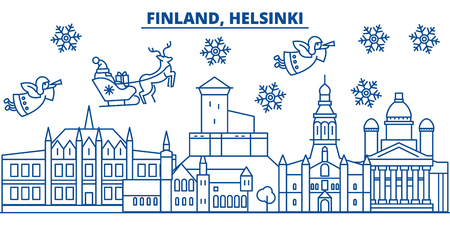 Finland, Helsinki winter city skyline. Merry Christmas, Happy New Year decorated banner with Santa Claus.Winter greeting line card.Flat, outline vector. Linear christmas snow illustration