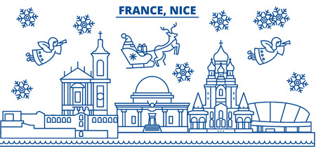 France, Nice winter city skyline with santa claus in flat outline illustration.