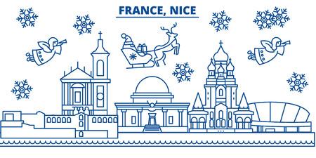 France, skyline de la ville d'hiver agréable avec le père Noël en illustration de contour plat.