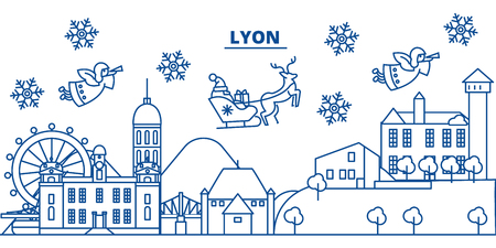 France, Lyon winter city skyline with santa claus in flat outline illustration. Banco de Imagens - 91355656
