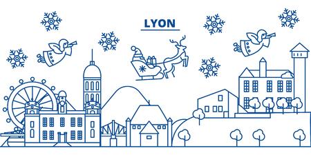 France, Lyon winter city skyline with santa claus in flat outline illustration. Illustration