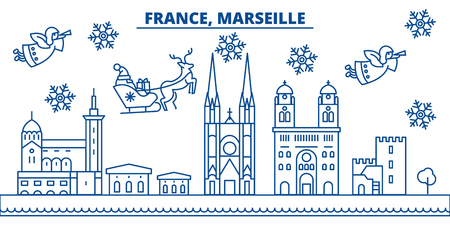 France, Marseille winter city skyline with santa claus in flat outline illustration.