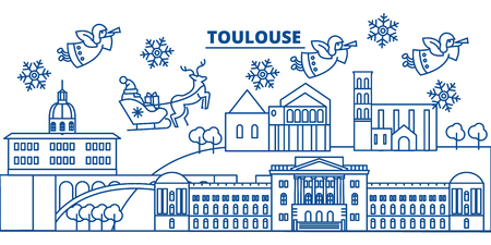 France, Toulouse winter city skyline. Merry Christmas, Happy New Year decorated banner with Santa Claus.Winter greeting line card.Flat, outline vector. Linear christmas snow illustration