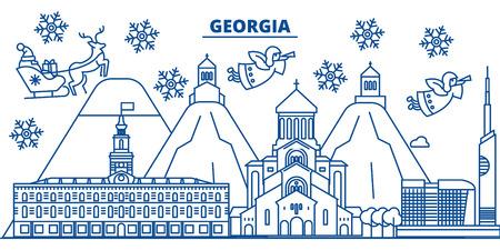 조지아 플랫 개요 그림에서 산타 클로스와 겨울 도시의 스카이 라인.
