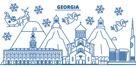 Georgia winter city skyline with santa claus in flat outline illustration.