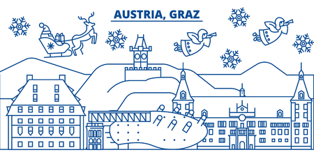 Austria, Graz winter city skyline. Merry Christmas, Happy New Year decorated banner with Santa Claus.Winter greeting line card.Flat, outline vector. Linear christmas snow illustration