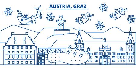 De horizon van de de winterstad van Oostenrijk, Graz. Vrolijke Kerstmis, Gelukkig Nieuwjaar verfraaide banner met Santa Claus. De lijnkaart van de de wintergroet Vlakke, overzichtsvector. Lineaire kerst sneeuw illustratie Stock Illustratie