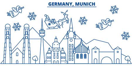 Germany, Munich winter city skyline with Santa Claus in flat style illustration. Çizim
