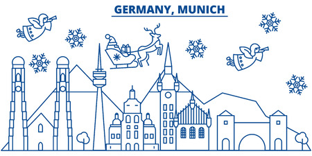 Germany, Munich winter city skyline with Santa Claus in flat style illustration. Illustration