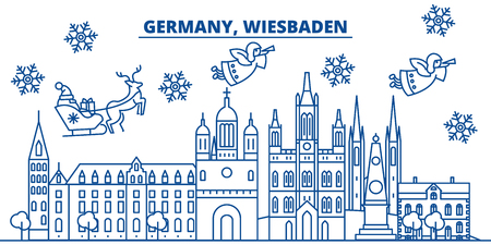 Germany, Wiesbaden winter city skyline with Santa Claus in flat style illustration.