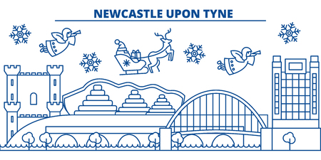 Great Britain, Newcastle upon Tyne winter city skyline with Santa Claus in flat style illustration.