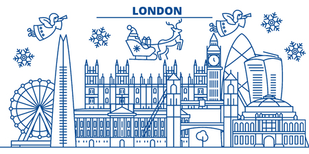 Great Britain, London winter city skyline. Christmas and New Year decorated banner with Santa Claus.Winter greeting line card.Flat, outline vector. Linear christmas snow illustration