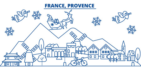 France, Provence winter city skyline with Santa Claus in flat style illustration.