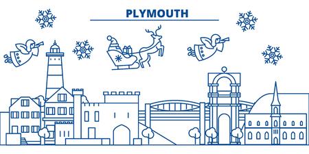 英国、平らなスタイルのイラストでサンタクロースとプリマス冬の街のスカイライン。  イラスト・ベクター素材