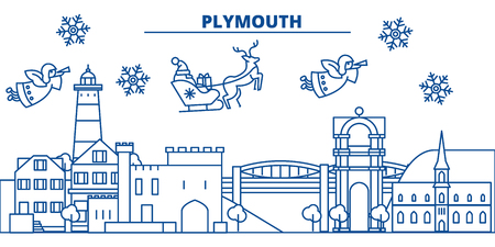 Great Britain, Plymouth winter city skyline with Santa Claus in flat style illustration.