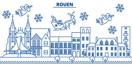 France, Rouen winter city skyline with Santa Claus in flat style illustration.