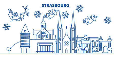 France, Strasbourg winter city skyline. Merry Christmas, Happy New Year decorated banner with Santa Claus.Winter greeting line card.Flat, outline vector. Linear christmas snow illustration Illustration