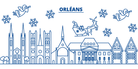 France, Orleans winter city skyline with Santa Claus in flat style illustration.