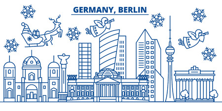 Germany, Berlin winter city skyline with Santa Claus in flat style illustration. Çizim