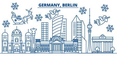 Winter-Stadtskyline Deutschlands, Berlin mit Santa Claus in der flachen Artillustration. Standard-Bild - 91356915